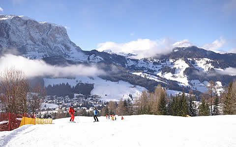 Ski slopes in the Dolomites